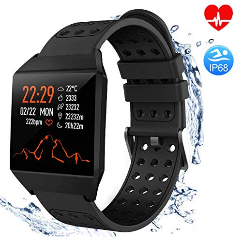 TagoBee TB10 Fitness Tracker IP67 Waterproof Smart Watch with Heart Rate Monitor Pedometer Calories Counter Touch Screen Bluetooth Smartwatch for Android Phones Samsung iPhone Men Women