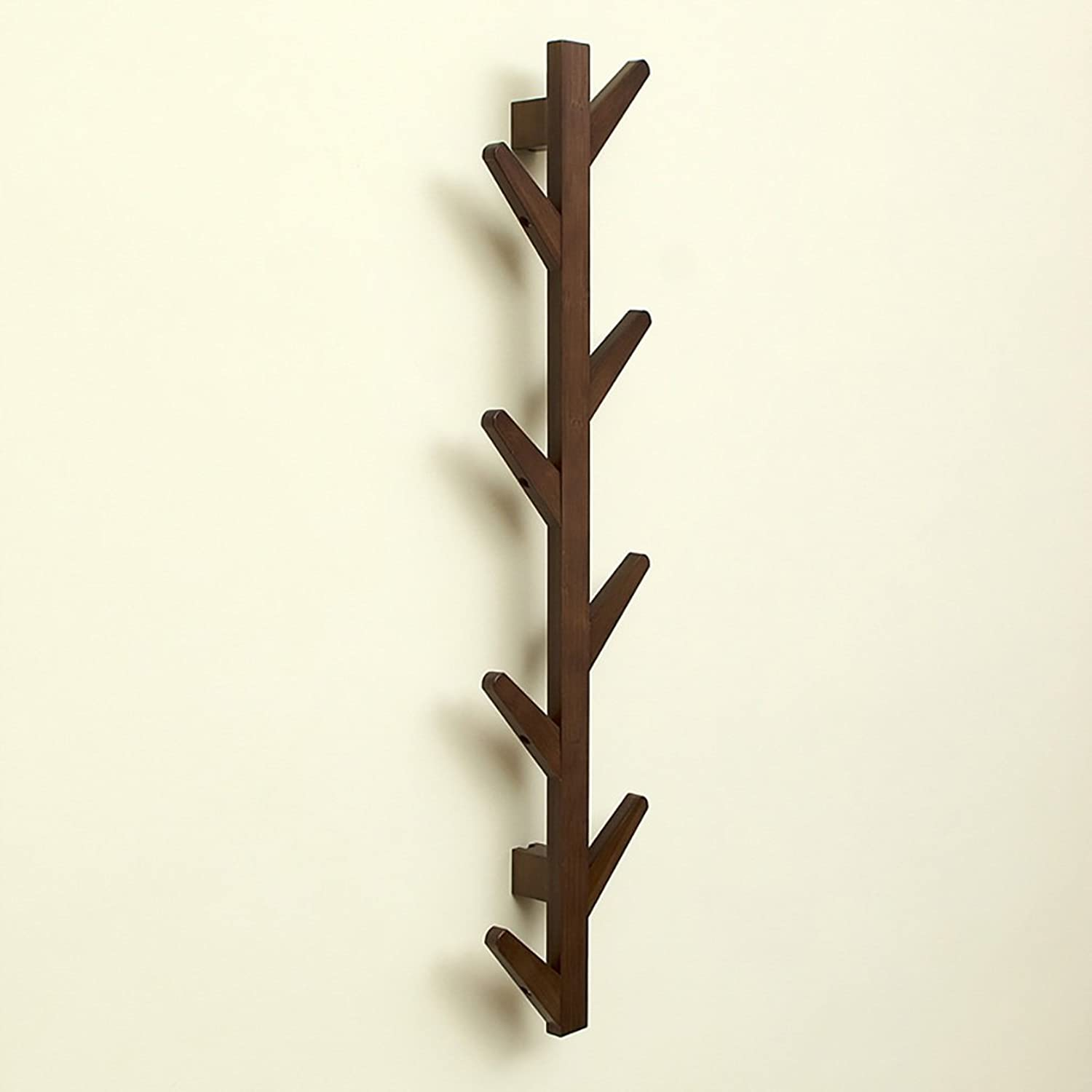 Creative Solid Wood Coat Rack Wall Hanging, Wall Hook Living Room Hanger (color   Retro color, Size   98cm)
