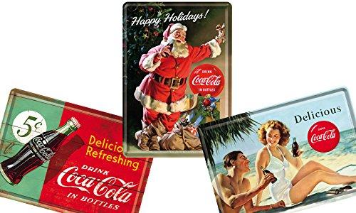 コカ・コーラ (A) Coca-Cola / ポストカード はがき (ブリキ製) 3枚 セット