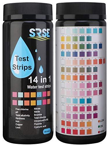 14 in 1 Trinkwasser Teststreifen, Pool Teststreifen SPA Whirlpools für pH, Chlor/Brom, Iron, Copper, Nitrit, Nitrat, Gesamtchlor, Gesamtalkalinität, Cyanursäure, Härte Wasserteststreifen 100 Stück
