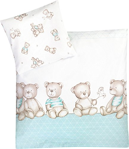Julius Zöllner Bettwäsche Bärenland 35x40 /80x80 cm - Bettwäscheset für Babys - flauschig & aus reiner Baumwolle - Bärchen-Print - mint