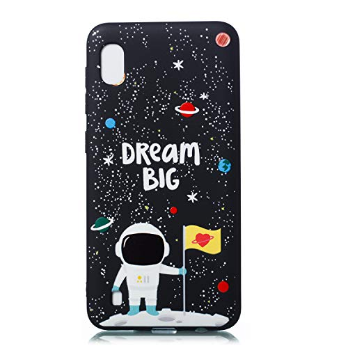 HopMore Compatible pour Coque Samsung Galaxy A10 2019 Silicone Noir Étui Motif Drôle Space Etui Souple Antichoc TPU Mince Case Housse Fine pour Femmes Fille Hommes - Grand Astronaute