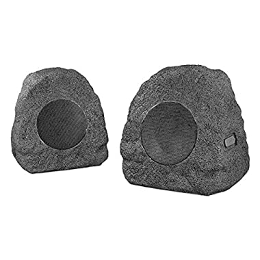 Innovative Technology Premium 10-Watt Bluetooth Outdoor Rock Speakers with A/C Adaptor and Built In Rechargeable 5200mAh Battery, Pair, Charcoal