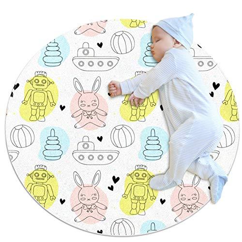 Robot de dibujos animados conejo patrón de tanque alfombra bebé piso de juegos Mat juego manta para la decoración de la habitación de los niños para bebés niñas sala de estar habitación cama