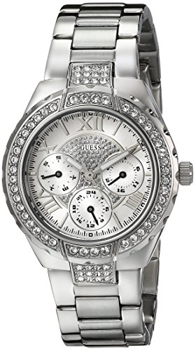 GUESS U0111L1 Silver-Tone Sparkling Watch: Watches