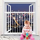 Hooen Child Window Guards for Children Window Safety Guards for Pet Kids Baby Proof Extra Wide White Window Gate Metal Security Window Bars for Sliding Windows,Fit Size:31.50'-36.22', White