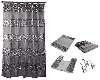 Popular Bath 7 Piece Sinatra Silver Shower Curtain Resin Hooks Towels and Rugs Set
