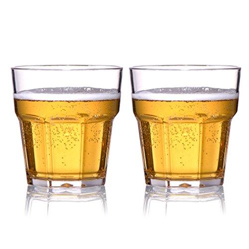MICHLEY Plastik Unzerbrechliche Whiskeygläser, Kinder Mehrweg Stabile Plastikbecher, Tritan-kunststoff trinkglasr für Wasser, Whisky, Wein, Wodka, Cocktail 250ml 2er Set