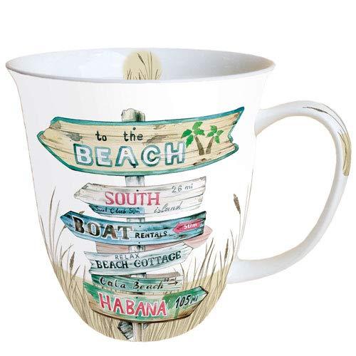 Ambiente Porzellan Becher Bone China, Mug, Tasse, Fuer Tee Oder Kaffee ca. 0,4L Road Signs Sand