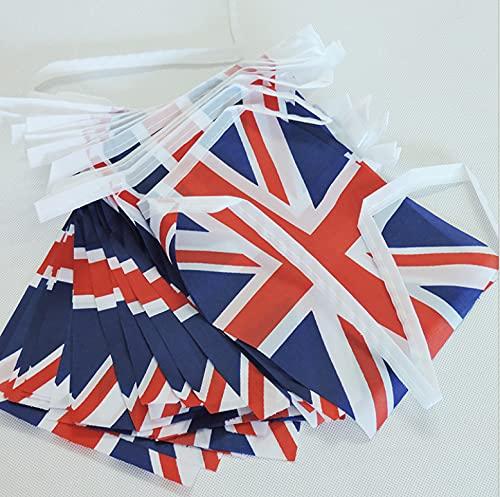 VICSPORT Union Jack Storbritannien rektangulär flagga brittiskt flaggbanderoll för nationaldag parader dekorationer sportevenemang hem firande fest (28 fot, 32 st)