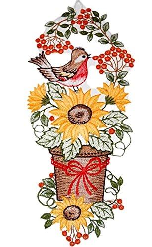 Fensterbild 17x40 cm + Saugnapf Plauener Spitze Sommer Herbst Stickerei Vogel Sonnenblumen Spitzenbild