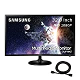 2020 Premium Samsung Curved 32 Inch FHD (1920 x 1080) Multimedia LED Monitor, HDMI, Speaker, Black + NexiGo 4K HDMI Cable