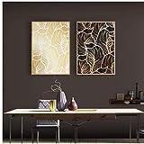 ZNNHERO Leinwand Malerei Schwarzgold Damaskus Blätter