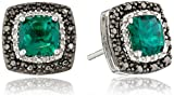 Jewelili Sterling Silver 6mm Created Emerald Cushion with Black and White Diamond Accent Stud Earrings