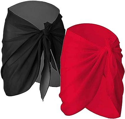 Wrap de Plage de Femmes,2 Pack Mousseline Couvertures de Maillot de Bain Par/éo Plage Femme Mousseline de Soie Sarong Couverture de Bikini Vacances Natation Noir+Blanc