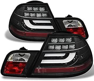 For 00-03 BMW E46 3-Series 2 Doors Coupe Black Light Tube Design LED Tail Lights Brake Lamps Pair