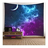 Bello Luna Starry Sky Tapestry Sala de Estar Dormitorio Picnic Cortina de Playa Mantel Tapiz de Pared Tapiz - 78.7 * 59in