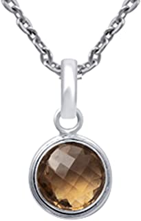 Brown Smoky Quartz Round 925 Sterling Silver Long Pendant Easter Presents For Girls And Women By Orchid Jewelry