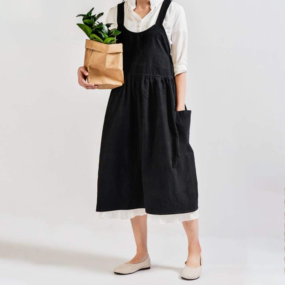 HPPL algodón algodón Ropa de Cocina Delantal Cocina Hornear Tienda de Flores con Volantes Delantal Limpio Mujer Uniforme Vestido de Las señoras, 1020-talón: Amazon.es: Hogar