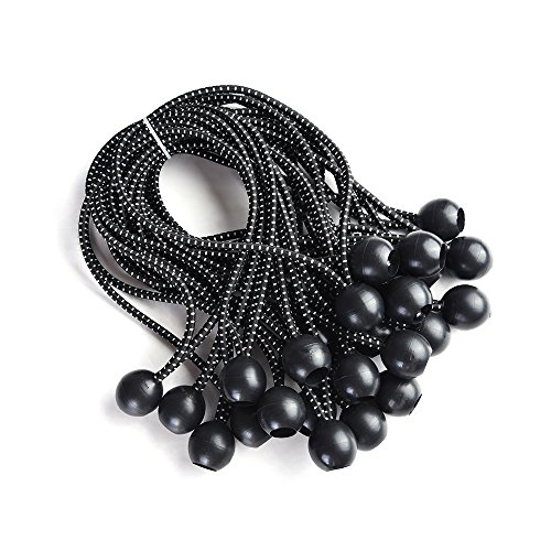 Yescom 25-Piece 9-Inch Black Elastic Ball Bungee Loop Cord Tie Down Strap Wire Fix Canopy Tarp Tent