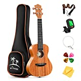 Donner Concert Ukulele Mahogany 23 Inch Ukelele Starter Bundle Kit with FREE ONLINE LESSON Gig Bag Strap Nylon String Tuner Picks Cloth DUC-1