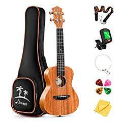 Tenor Ukulele with mahogany body and four advanced carbon nylon string Mahogany body and neck bring you richer and brighter sound; Rosewood fingerboard and bridge provides a comfortable playing feel. Smooth and accurate, Donner patented chrome-plated...