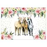 Funnytree Horse Party Backdrop Cowboy Cowgirl Flower Photo Background Farm Western Birthday Baby Shower Bday Banner Decoration Supplies Photobooth Prop 7x5FT