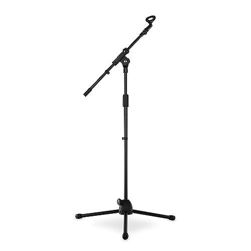 """MALONE ST-6 - Mikrofonständer, Mikrofonstativ, mit Galgen, Schwenkarm, Neigung- und Höhe verstellbar, solide Dreibein-Konstruktion, Universal-Mikrofonklemme, 3/8""""-Gewinde, schwarz"""