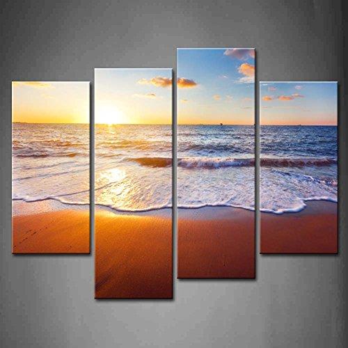 4 Panel Puesta de sol Y playa Con Mar OlaPintura de la pintura de la pared La impresión de la imagen en la lona Marina Fotos de la Obra para la Decoración Moderna del Ministerio del Interior