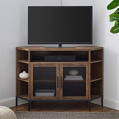 Walker Edison Furniture Company Modern Metal Mesh and Wood Corner Universal Stand with Open Shelves Cabinet Doors TV's up to 55' Flat Screen Living Room Storage Entertainment Center, Rustic Oak