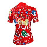Ciclismo Jersey Set Summer Bike Ropa Reflective, Manga Corta De Las Mujeres con Cremallera Completa Cremallera Mojado Transpirable Quick Secar, Moda Roja,L