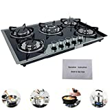 Cozyel 30' Gas Stove 30 Inch Gas Cooktop Tempered Glass Gooktop with 5 Burners Stove Burner LPG/NG Dual Fuel Convertible Natural Gas Propane and 5 Nozzles, Easy to Clean