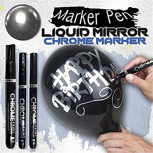 Silver Art Liquid Mirror Chrome Marker,DIY Mirror Reflective Paint Pen,Liquid Chrome Marker with 0.7/1/3mm Nib Mirror Reflection Sign Pen Soomth Writing (3.0mm)
