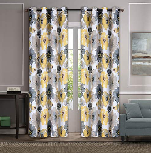 """2PC Room Darkening Window Curtain Panels Grommet TOP Blackout Curtains for Bedroom 104"""" Wide Total Set 52"""" Each Panel Window Treatment Pair ( 84"""", Yellow )"""