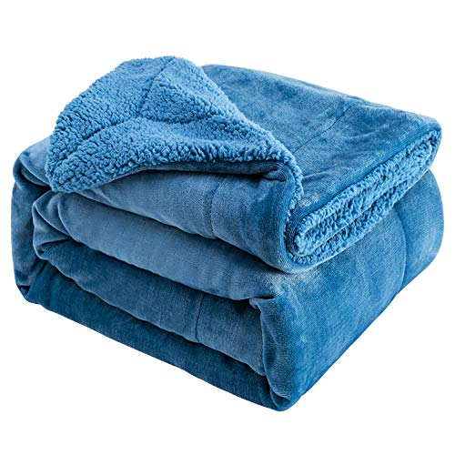 Sivio Sherpa Fleece Blanket Twin Size 200x150cm Dual Sided Slate Blue Plush Throw Blanket Fuzzy Soft Blanket Microfiber for Couch, Bed, Sofa Ultra Luxurious Warm and Cozy for All Seasons