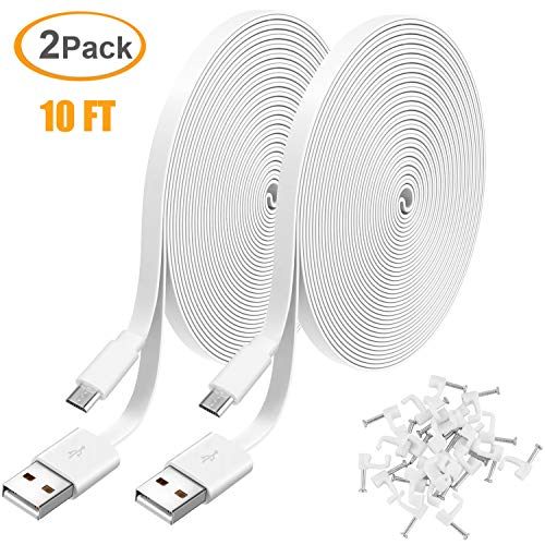 2 Pack 10FT Power Extension Cable for WyzeCam, WyzeCam Pan, KasaCam Indoor, NestCam Indoor, Yi Camera, Blink, Amazon Cloud Cam, USB to Micro USB Durable Charging and Data Sync Cord for Security Camera