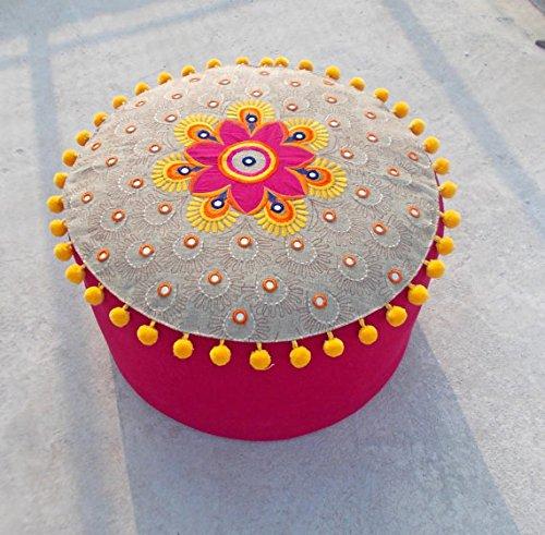 VLiving Housse de Pouf, Lin, Coton, Multicolore, Broderie, Tribal, bohème, Ottoman Housse, Pompons, Indian Craft, 55,9 x 30,5 cm
