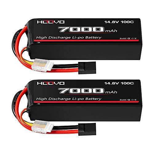HOOVO 14.8V 100C 7000mAh 4S LiPo Battery Metal Plates for X-Maxx RC Truck Tank RC Car Racing Hobby (2 Pack)