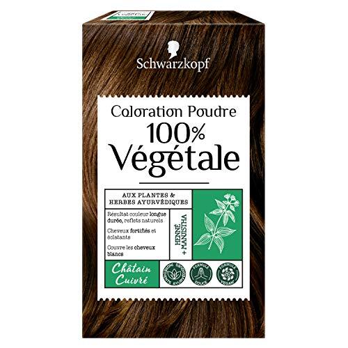 Schwarzkopf - 100% Végétale - Coloration Cheveux Poudre Naturelle - Formule Végane - Châtain Cuivré