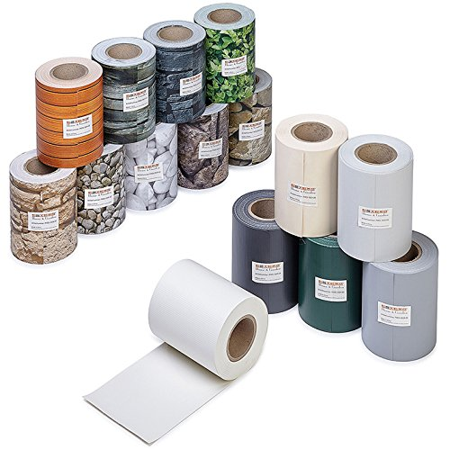 ESTEXO Profi Qualität PVC Sichtschutz-Streifen, Zaunblende, Folie, Doppelstabmatten, Zaun, Zaunfolie (70 Meter = 2 x 35 Meter, Stein-Optik grob)