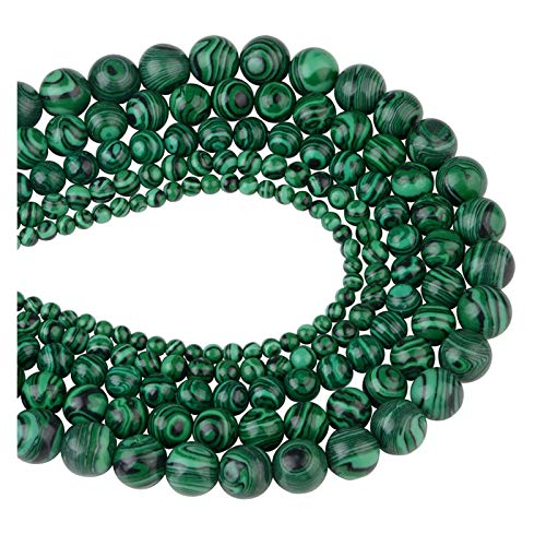 Linyuex 4,6,8,10,12mm Natural Stone Beads Black Lava Tiger Eye Bulk Loose Stone Beads For DIY Making Bracelet Necklace Jewelry (Color : Malachite, Size : 8mm-46pcs)