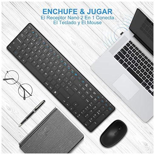 WisFox Combo de Teclado y Mouse Inalámbricos, 2.4G Mouse de Teclado Delgado de Tamaño Completo Packs con Receptor Nano… 3