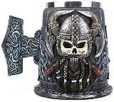 Touker Viking Warrior Drinking Beer Mug , Stainless Steel Danegeld Skull Beer Tankard Mug , Viking Horned Battle Helmet Stein for Coffee Wine Beer - 600 ML - 20 Oz