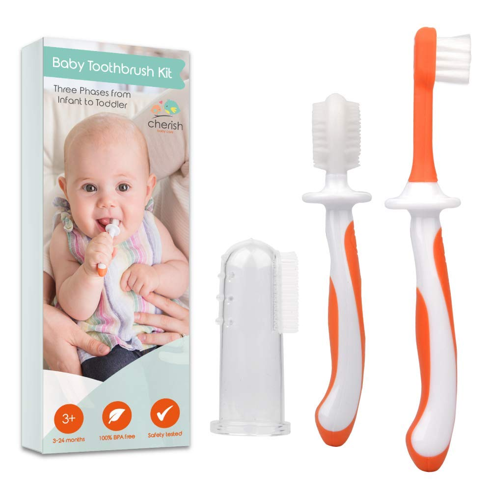 3 Piece Baby Toothbrush Set by Cherish Baby Care - with Infant Finger Toothbrush - Silicone Toothbrush & Toddler Toothbrush - Perfect Babys First Toothbrush Set (Orange)