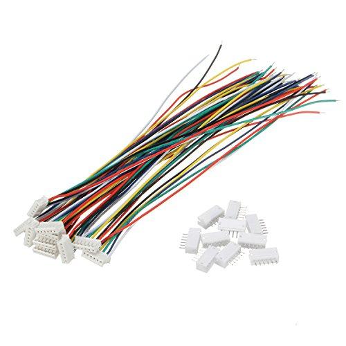 ILS - Set da 10 pezzi con Mini Micro JST 1.5mm ZH 6-Pin Connettori prese e 10 cavi 15cm