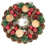 Tenedor de vela de la guirnalda de la Navidad con piña, piña de navidad corona de vela, corona de adviento artificial, baya roja invierno decoraciones para el hogar-default