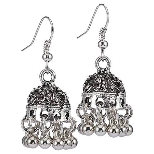 Harilla Joyería étnica Bollywood Tradicional Indio Jhumki Plateado Pendientes para Mujeres - 古 银色