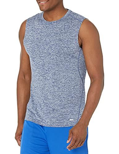 Amazon Essentials Men's Tech Stretch Performance Muscle Shirt, Dark Blue Space dye, Small