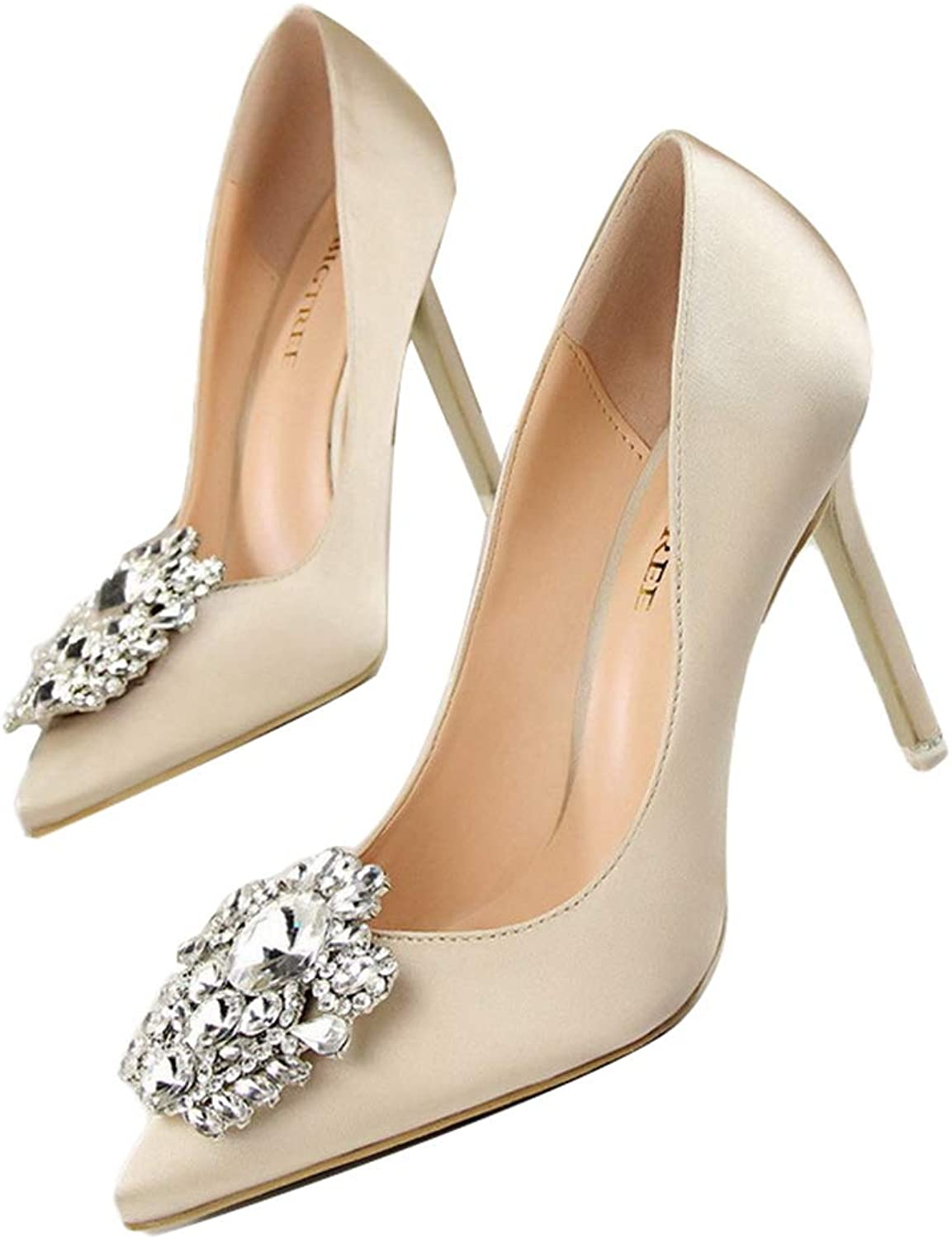 Kyle Walsh Pa Women Pumps Spring Autumn Elegant Rhinestone Silk Satin High Heels shoes Sexy Thin Pointed Single shoes
