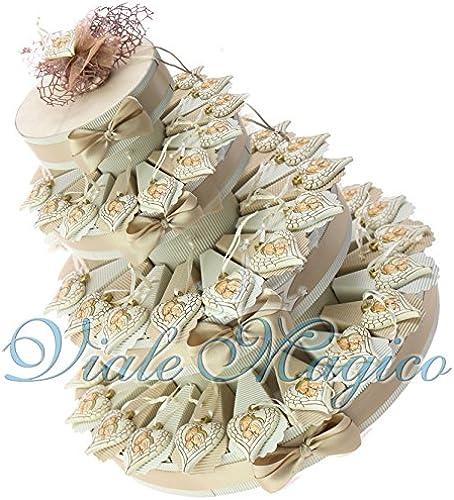 Bonboniere zur Taufe, Kommunion, Konfirmation, mit Herzmotiv und Aufdruck der heiligen Familie 60 Pezzi